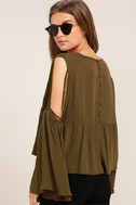 Join the Festivities Olive Green Embroidered Long Sleeve Top 3