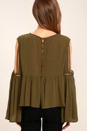 Join the Festivities Olive Green Embroidered Long Sleeve Top 4