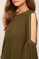 Join the Festivities Olive Green Embroidered Long Sleeve Top 5