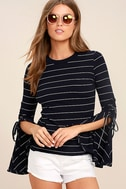 Found My Mate Navy Blue Striped Lace-Up Top 1