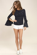 Found My Mate Navy Blue Striped Lace-Up Top 2