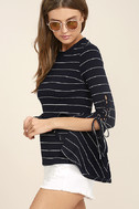 Found My Mate Navy Blue Striped Lace-Up Top 3