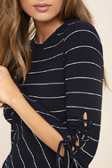 Found My Mate Navy Blue Striped Lace-Up Top 5