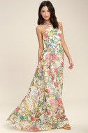 Lilja Cream Floral Print Maxi Dress 2