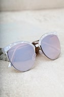 Nice Girls White Marbled Mirrored Cat-Eye Sunglasses 2