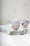 Nice Girls White Marbled Mirrored Cat-Eye Sunglasses 3