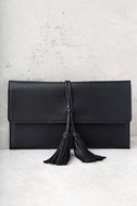 Indra Black Tassel Clutch 2