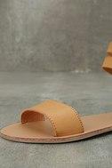 Dorinda Camel Burnished Ankle Strap Flat Sandals 6