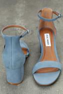 Steve Madden Irenee Light Blue Nubuck Leather Ankle Strap Heels 3