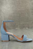 Steve Madden Irenee Light Blue Nubuck Leather Ankle Strap Heels 4