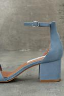 Steve Madden Irenee Light Blue Nubuck Leather Ankle Strap Heels 7