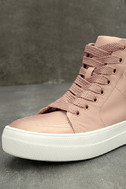 Steve Madden Golly Blush Satin High-Top Sneakers 6