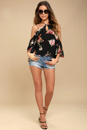 For the Love of Flowers Black Floral Print Top 2