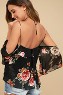 For the Love of Flowers Black Floral Print Top 3