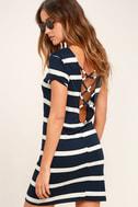 Billabong Sunset View Navy Blue Striped Shirt Dress 1