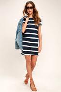 Billabong Sunset View Navy Blue Striped Shirt Dress 2