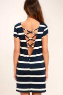 Billabong Sunset View Navy Blue Striped Shirt Dress 4