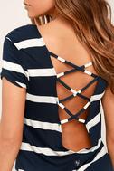 Billabong Sunset View Navy Blue Striped Shirt Dress 5