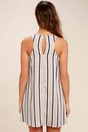 Broad Horizons Beige Striped Shift Dress 4
