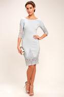 Midnight Garden Blue Grey Lace Bodycon Dress 2
