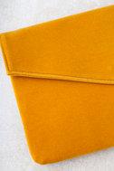 Daily To-Do Mustard Yellow Velvet Clutch 2