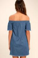 Roam Along Blue Chambray Off-the-Shoulder Dress 4