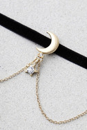 Shoot for the Stars Black and Gold Choker Necklace 3