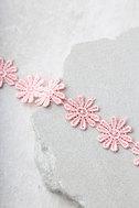 Wildflower Power Blush Pink Lace Choker Necklace 3
