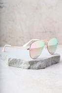 Reflection of Perfection Pink Mirrored Aviator Sunglasses 1