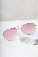 Reflection of Perfection Pink Mirrored Aviator Sunglasses 2
