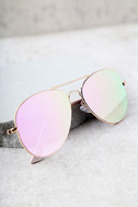 Reflection of Perfection Pink Mirrored Aviator Sunglasses 3