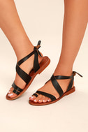 Sbicca Teegan Dark Brown Leather Flat Sandals 1