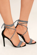 Kensey Black Lace-Up Heels 1