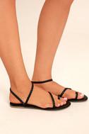 Mirela Black Flat Sandals 2