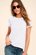 Basic Principle Black and White Striped High-Low Tee 3