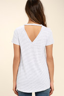 Basic Principle Black and White Striped High-Low Tee 4