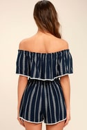 See Ya There Navy Blue Print Off-the-Shoulder Romper 4