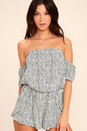 Get-Together Black and White Striped Off-the-Shoulder Romper 1