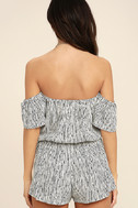 Get-Together Black and White Striped Off-the-Shoulder Romper 4