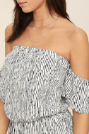 Get-Together Black and White Striped Off-the-Shoulder Romper 5