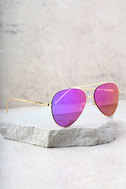 Perverse Bronson Gold and Purple Mirrored Aviator Sunglasses 3