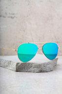Perverse Bronson Gold and Green Mirrored Aviator Sunglasses 3