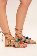 Accalia Whiskey Brown Lace-Up Pompom Sandals 3