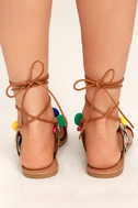 Accalia Whiskey Brown Lace-Up Pompom Sandals 4