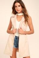 Geneva Blush Pink Suede Belted Vest 1