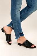 Steve Madden Briele Black Leather Slide Sandals 1