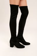 Steve Madden Isaac Black Suede Over the Knee Boots 3