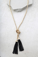 In my Thoughts Gold and Black Wrap Necklace 1