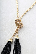 In my Thoughts Gold and Black Wrap Necklace 2
