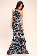 Loving Ways Black Floral Print Maxi Dress 1